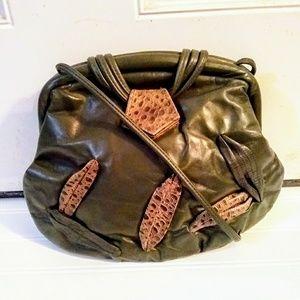 Vintage Olive Green Leather Reptile Shoulder Bag